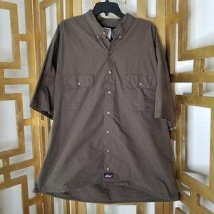 Men's Dickies Green Short Sleeve Button Shirt 3XL